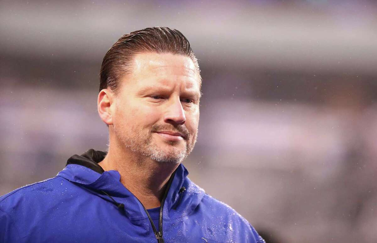 EAST RUTHERFORD, NJ - NOVEMBER 05: head coach Ben McAdoo of the New York Giants looks on after a 51-17 loss against the Los Angeles Rams after their game at MetLife Stadium on November 5, 2017 in East Rutherford, New Jersey. (Photo by Al Bello/Getty Images)