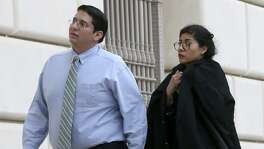 Witness Denise Cantu (right) enters the Hipolito Garcia Federal Courthouse in San Antonio Wednesday November 8, 2017. Cantu is a star witness in the criminal fraud trial of state Senator Carlos Uresti. In the bankruptcy case, the trustee is seeking to recover money from an early investor in FourWinds Logistics for the benefit of the bankruptcy estate. Cantu invested hundreds of thousands of dollars in FourWinds Logistics.