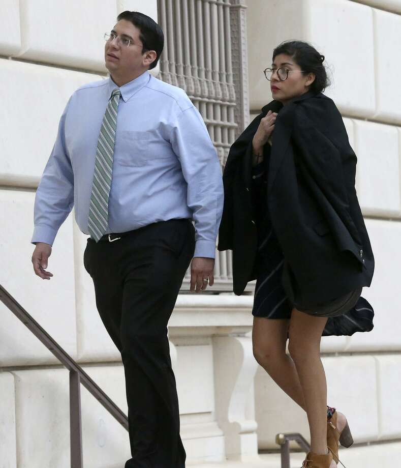 Witness Denise Cantu (right) enters the Hipolito Garcia Federal Courthouse in San Antonio Wednesday November 8, 2017. Cantu is a star witness in the criminal fraud trial of state Senator Carlos Uresti. In the bankruptcy case, the trustee is seeking to recover money from an early investor in FourWinds Logistics for the benefit of the bankruptcy estate. Cantu invested hundreds of thousands of dollars in FourWinds Logistics. Photo: John Davenport, STAFF / San Antonio Express-News / ©John Davenport/San Antonio Express-News