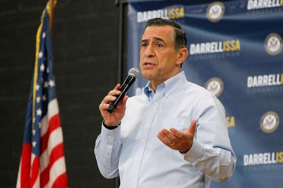 U.S. Rep. Darrell Issa speaks to constituents during a town hall meeting on March 11, 2017, at the Junior Seau Beach Community Center in Oceanside, Calif. (Hayne Palmour IV/San Diego Union-Tribune/TNS)