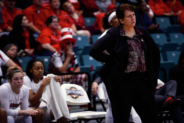Lamar women's basketball coach Robin Harmony watches from the sideline as they play Stephen F. Austin in the Southland Conference women's basketball tournament at the Merrell Center in Katy on Saturday afternoon.  Photo taken Saturday 3/11/17 Ryan Pelham/The Enterprise