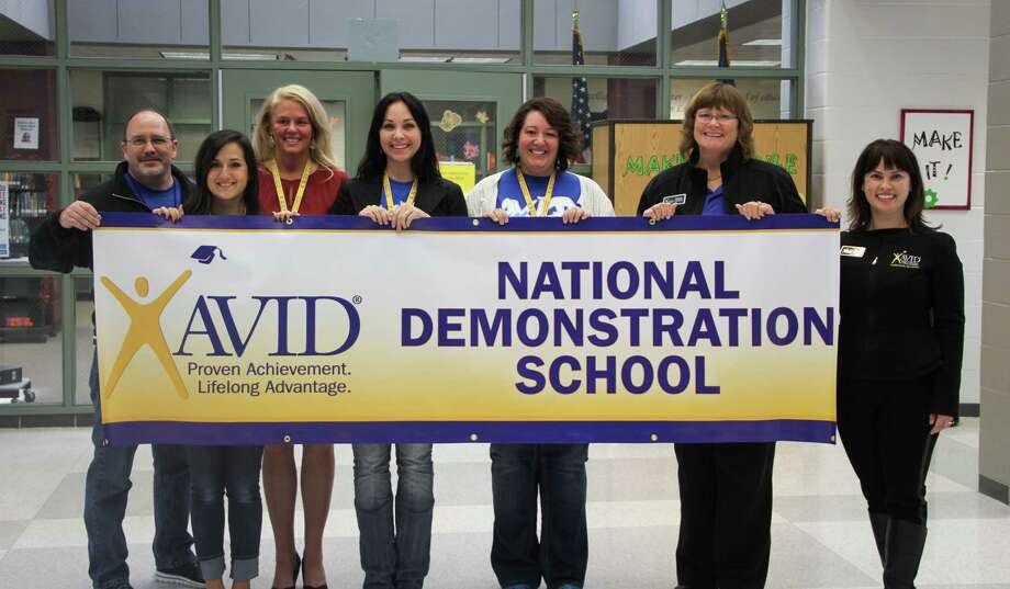 Pictured from left to right: Kenneth Buck, Timberwood Middle School principal; Ashley Diosdado, Timberwood Middle School AVID teacher; Sally Wagner, Humble ISD AVID Coordinator; Alaina Taylor, Timberwood Middle School AVID teacher; Angela McDaniel, Timberwood Middle School AVID teacher;Barbara Copeland, Assistant State Director of AVID - Southern Region; and Mercy Jesswani, AVID Program Manager - California Division. Photo: Courtesy