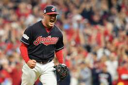 CLEVELAND, OH - OCTOBER 06:  Joe Smith #38 of the Cleveland Indians reacts after striking out Gary Sanchez #24 of the New York Yankees in the ninth inning during game two of the American League Division Series at Progressive Field on October 6, 2017 in Cleveland, Ohio.  (Photo by Jason Miller/Getty Images)