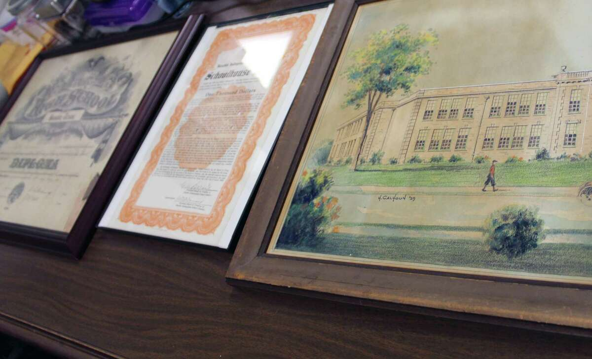 A diploma of one of the first Humble school district graduates; a bond used for the construction of Charles Bender High School; and an original architect rendering of Charles Bender High School, are all on loan from the Humble Museum to Humble ISD as the school district creates a comprehensive database, digitally archiving its history in honor of Humble ISD's 100th anniversary in Feb. 2019.