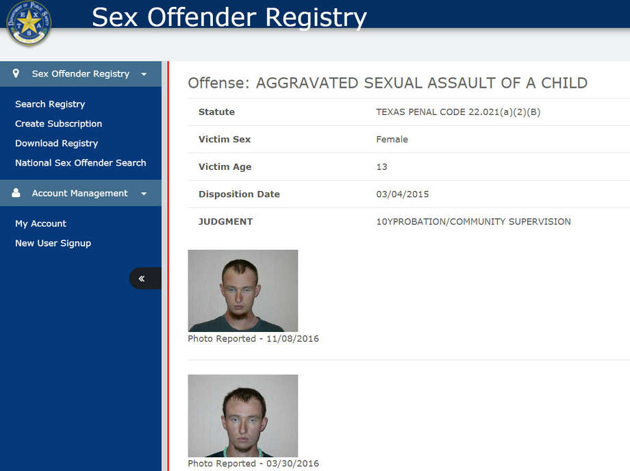 Texas sex offender registary