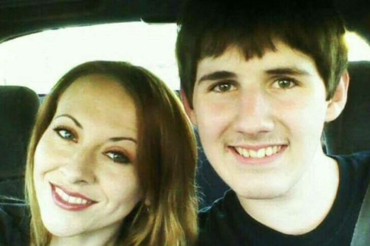 Zachary Poston, 18, is pictured with his mother, Jennifer Racey, in this undated photo. Poston was shot multiple times in an attack on a church in Sutherland Springs Texas and is recovering from his injuries.