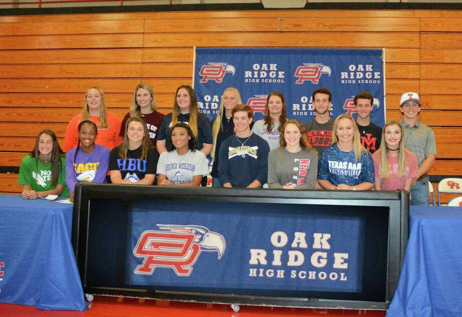 Sixteen student-athletes announced their colleges as a part of early National Signing Day at Oak Ridge High School on Wednesday. Photo: Sean Marie Casey