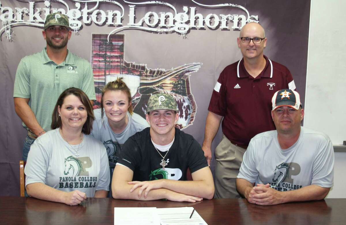 Tarkington Longhorn Trevor Comstock (middle) signed on to play baseballfor the Panola College Ponies on Nov. 6. Comstock will go on to play for the Ponies after graduating from Tarkington High School in 2018. Back row: Panola Ponies Assistant baseball Coach Trevor Rainey and Longhorns baseball Coach Ken McCarther. Pictured are (front row) mother Tammy Comstock, sister Tamara Comstock, Trevor Comstock and father Doug Comstock.