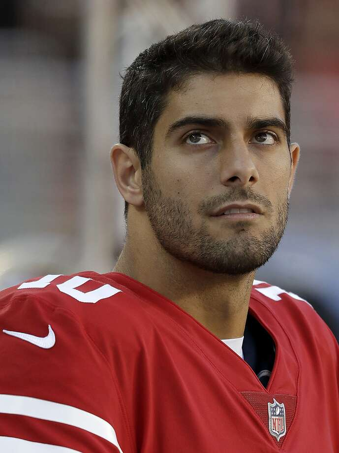 "It's ""pure football"" now for Jimmy Garoppolo after a week of adjustment. Photo: Marcio Jose Sanchez, Associated Press"