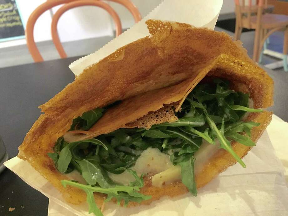 Gouda, arugula and lemon cream crepe at the new Melange Creperie in the Heights Photo: Alison Cook