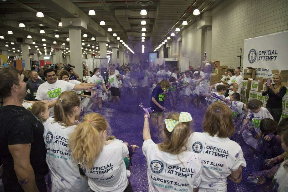 Madison Greenspan and her volunteers broke the Guiness World Record for most slime made on Saturday, Nov. 4, 2017. Photo: Contributed / Contributed Photo / Fairfield Citizen