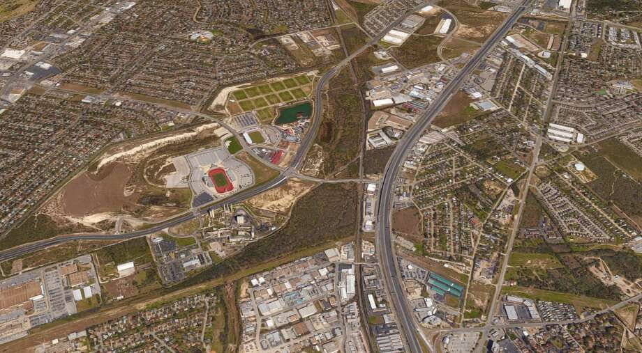 Local developer Bitterblue has bought nearly 100 acres of vacant land across the highway from Morgan's Wonderland and Toyota Field. Photo: Google Maps