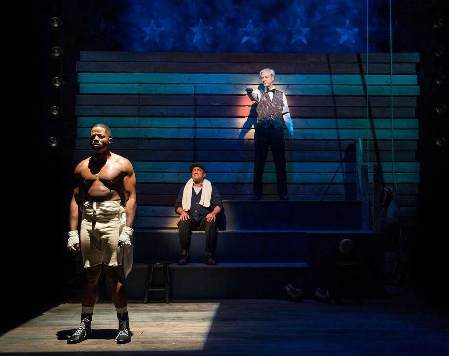"""From left:Calvin M. Thompson as Jay """"The Sport"""" Jackson, Donald E. Lacy, Jr. as Wynton and Tim Kniffin as Max inAurora Theatre's """"The Royale."""" Photo: David Allen, Aurora Theatre"""