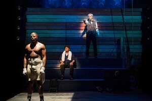 """From left:�Calvin M. Thompson as Jay """"The Sport"""" Jackson, Donald E. Lacy, Jr. as Wynton and Tim Kniffin as Max in�Aurora Theatre's """"The Royale."""""""