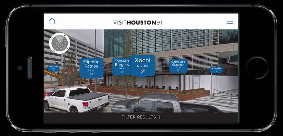 Screenshot from the Visit Houston AR app
