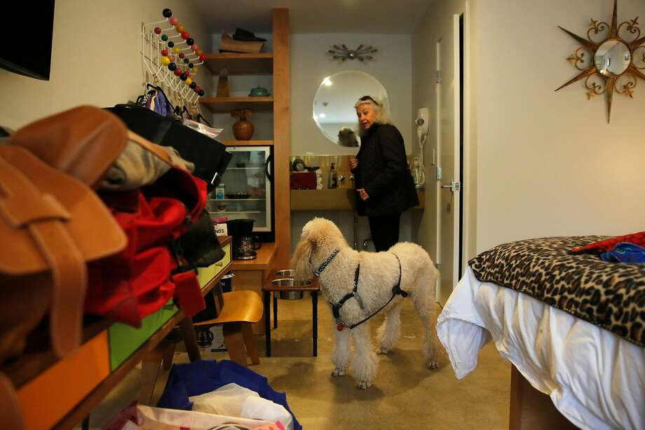 Diane Hamilton, a FEMA recipient with her dog Sophie, is staying at a Santa Rosa motel since she lost her mobile home. Photo: Michael Macor, The Chronicle