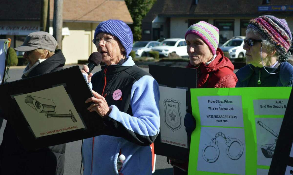 Susan Bramhall, member of Jewish Voice for Peace New Haven chapter, speaking at a demonstration Nov. 8 in front of the Anti-Defamation League's office to end the police exchange with Israel.