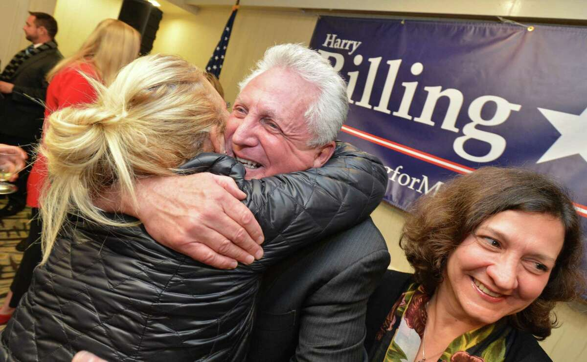 Democrats, led by Mayor Harry Rilling, who was elected to a third term, celebrate multiple wins during election night on Tuesday November 7, 2017 at The Hilton Garden Inn in Norwalk Conn.