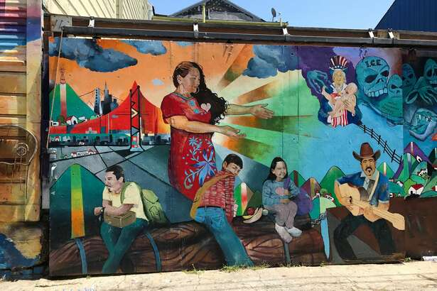 The murals of Balmy Alley near 24th Street in the Mission District.