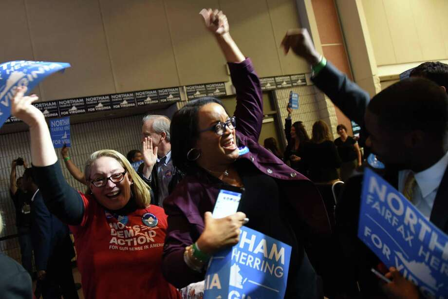 Supporters of Democrat Ralph Northam erupt in joy at a rally Tuesday night after Northam won the governor's race in Virginia. Photo: Washington Post Photo By Michael Robinson Chavez / The Washington Post