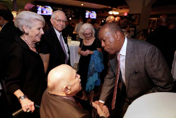 Mayor Sylvester Turner greets supporters at an election watch party at Southwest Grill in downtown. Bonds for public improvement projects easily passed Tuesday.  (Michael Wyke)