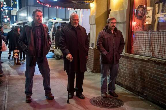 "( L-r) Bryan Cranston as ""Sal,"" Laurence Fishburne as ""Mueller"" and Steve Carell as ""Doc"" in ""Last Flag Flying."" MUST CREDIT: Wilson Webb, Lionsgate"