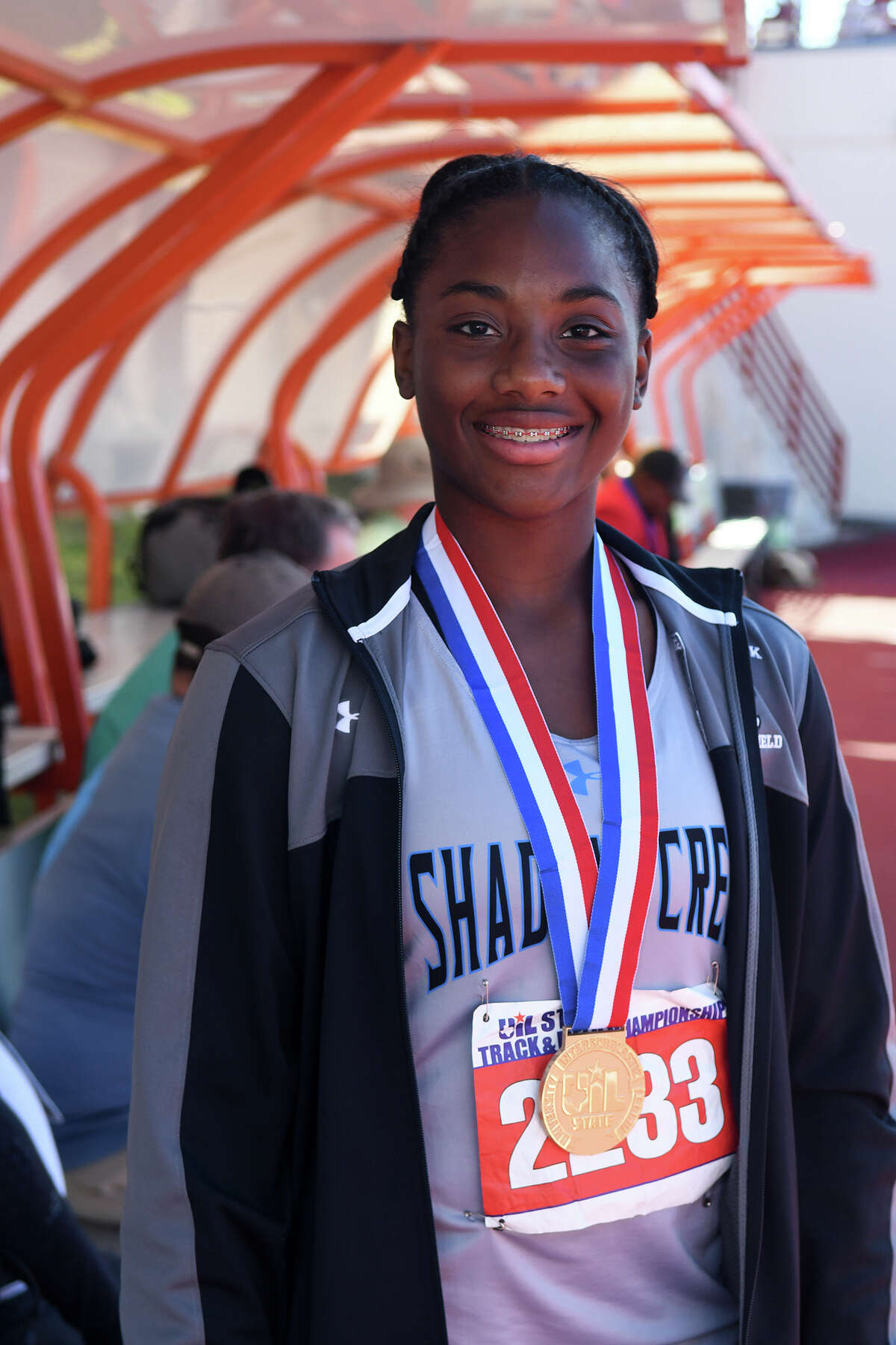 Alvin Shawdow Creek junior Hailey Pollard showsn off her gold medal after winning the Class 5A Girls Discus event at the UIL Track & Field State Championships at Mike A. Myers Stadium on the campus of the University of Texas at Austin in Austin on Friday, May 12, 2017. (Photo by Jerry Baker/Freelance)