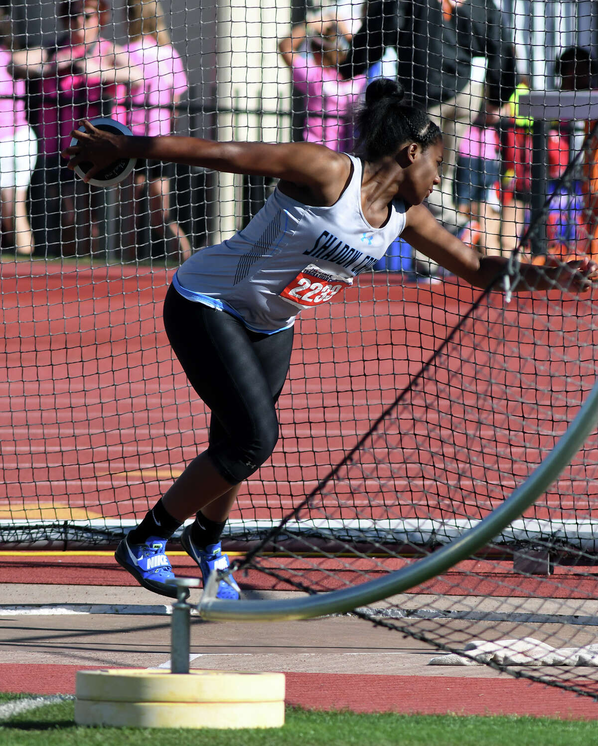 Alvin Shawdow Creek junior Hailey Pollard competes in the Class 5A Girls Discus at the UIL Track & Field State Championships at Mike A. Myers Stadium on the campus of the University of Texas at Austin in Austin on Friday, May 12, 2017. (Photo by Jerry Baker/Freelance)