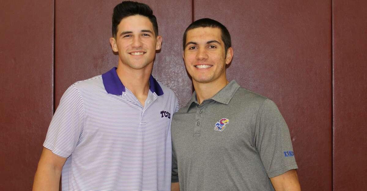 Magnolia baseball players Adam Kloffenstein, left, and Jordan Groshans signed with TCU and Kansas on Wednesday morning.