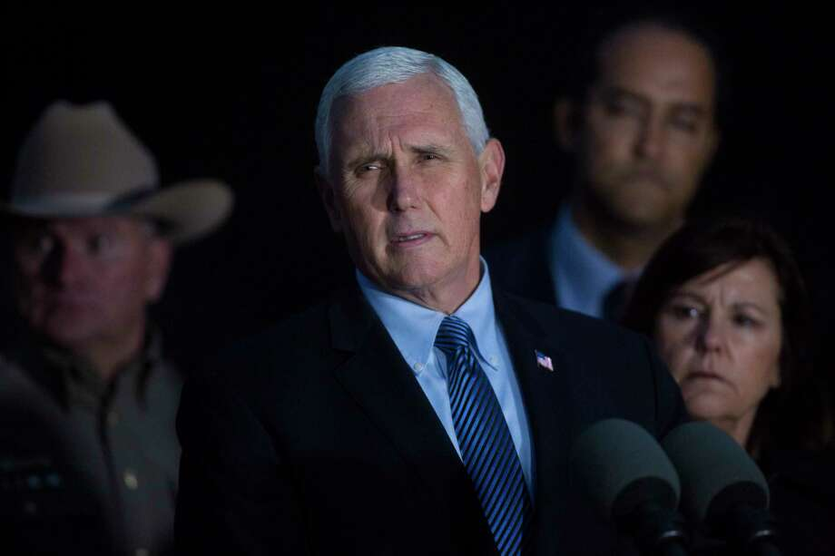 U.S. Vice President Mike Pence speaks during a press conference during his visit to the First Baptist Church in Sutherland Springs, Wednesday, Nov. 8, 2017, where 26 people were gun down Sunday, Nov. 5, 2017, in Sutherland Springs. Photo: Marie D. De Jesus, Houston Chronicle / © 2017 Houston Chronicle