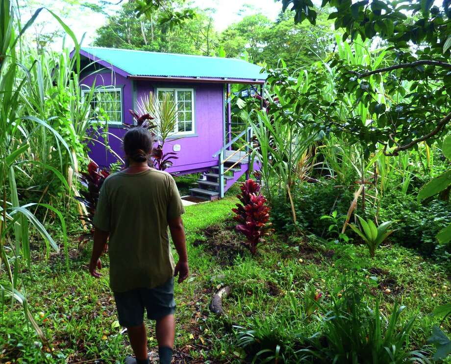 Farmer John Douvris approaches one of the rental cabins among tropical gardens at I'olani Farm. Photo: Brian J. Cantwell /TNS / Seattle Times