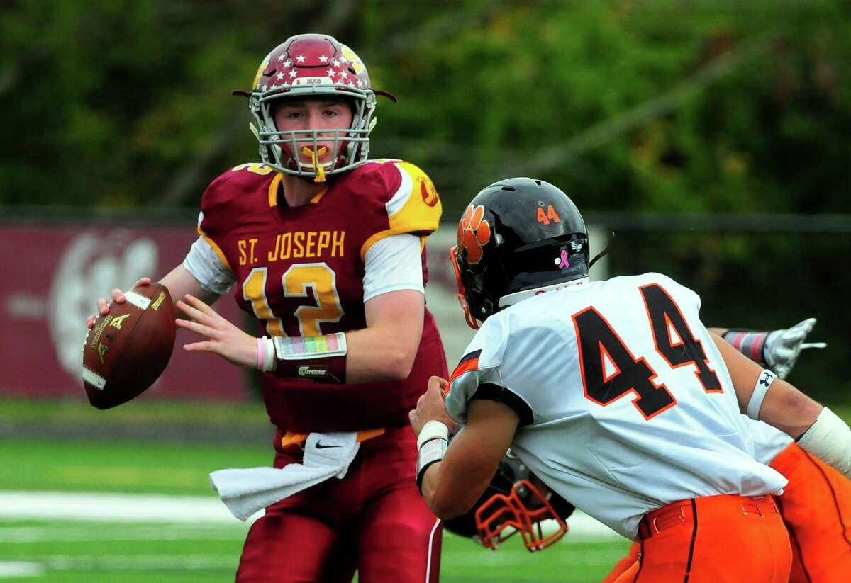 St. Joseph David Summers during football action against Ridgefield in Trumbull, Conn. on Saturday Oct. 14, 2017.