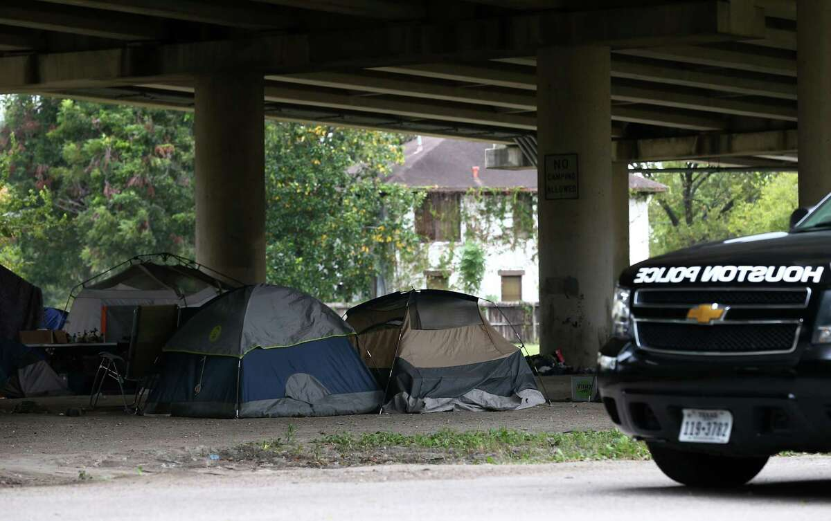 Two people have been shot and killed during the last three weeks at the homeless encampment located off Caroline Street under the U.S. 59 Highway Wednesday, Nov. 8, 2017, in Houston. ( Godofredo A. Vasquez / Houston Chronicle )