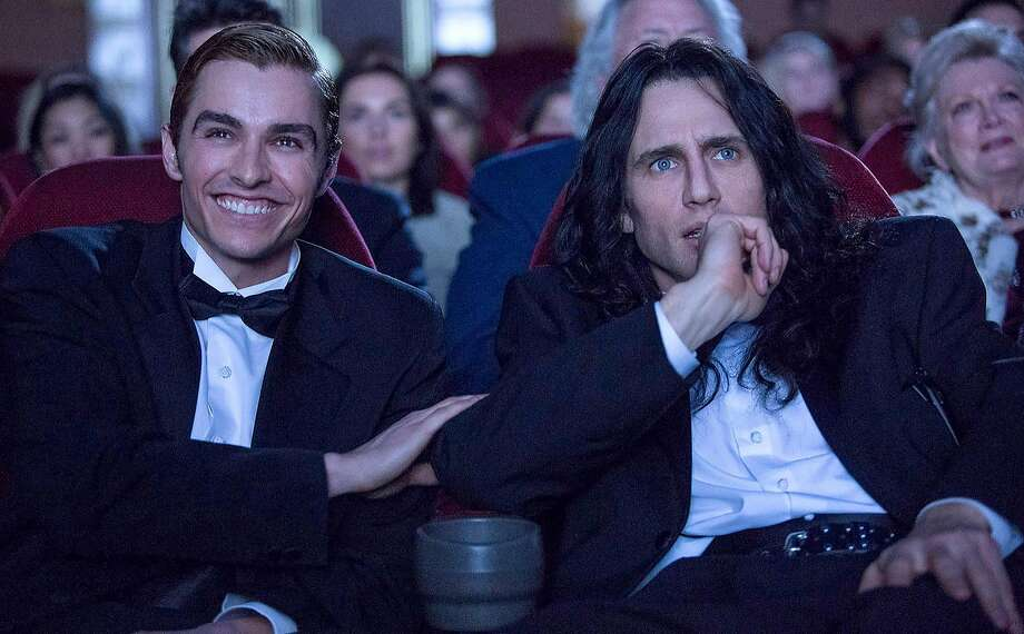 "Dave Franco (left) and brother James Franco in ""The Disaster Artist."" Photo: Justina Mintz, A24"