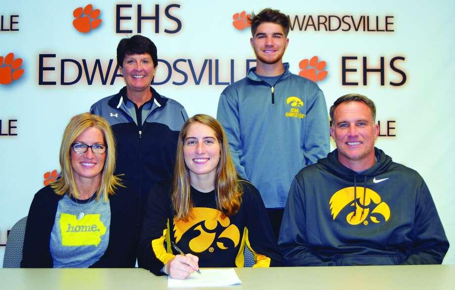 EHS senior Kate Martin, seated center, will play women's basketball at Iowa.
