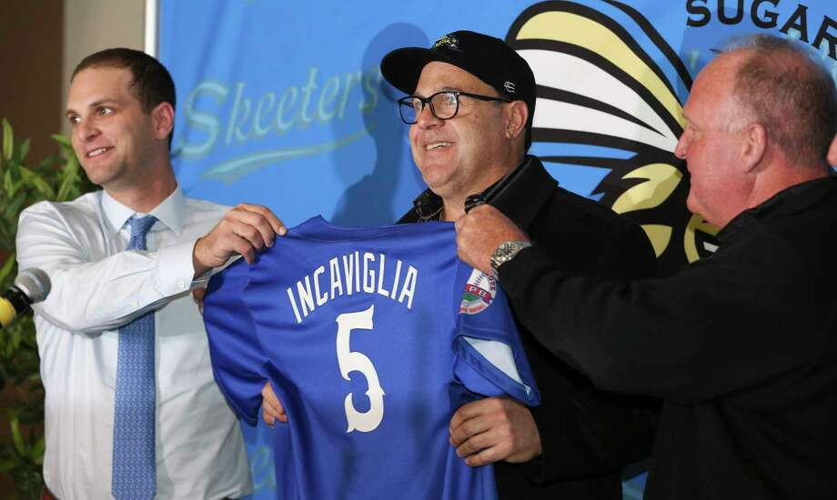 The Sugar Land Skeeters' new manager Pete Incaviglia, center, is introduced by owner Kevin Zlotnik, left, and president Jay Miller during a press conference at the Constellation Field on Wednesday, Nov. 8, 2017, in Sugar Land. Incaviglia is a veteran who played 12 years in Major League Baseball. ( Yi-Chin Lee / Houston Chronicle ) Photo: Yi-Chin Lee, Staff / © 2017 Houston Chronicle