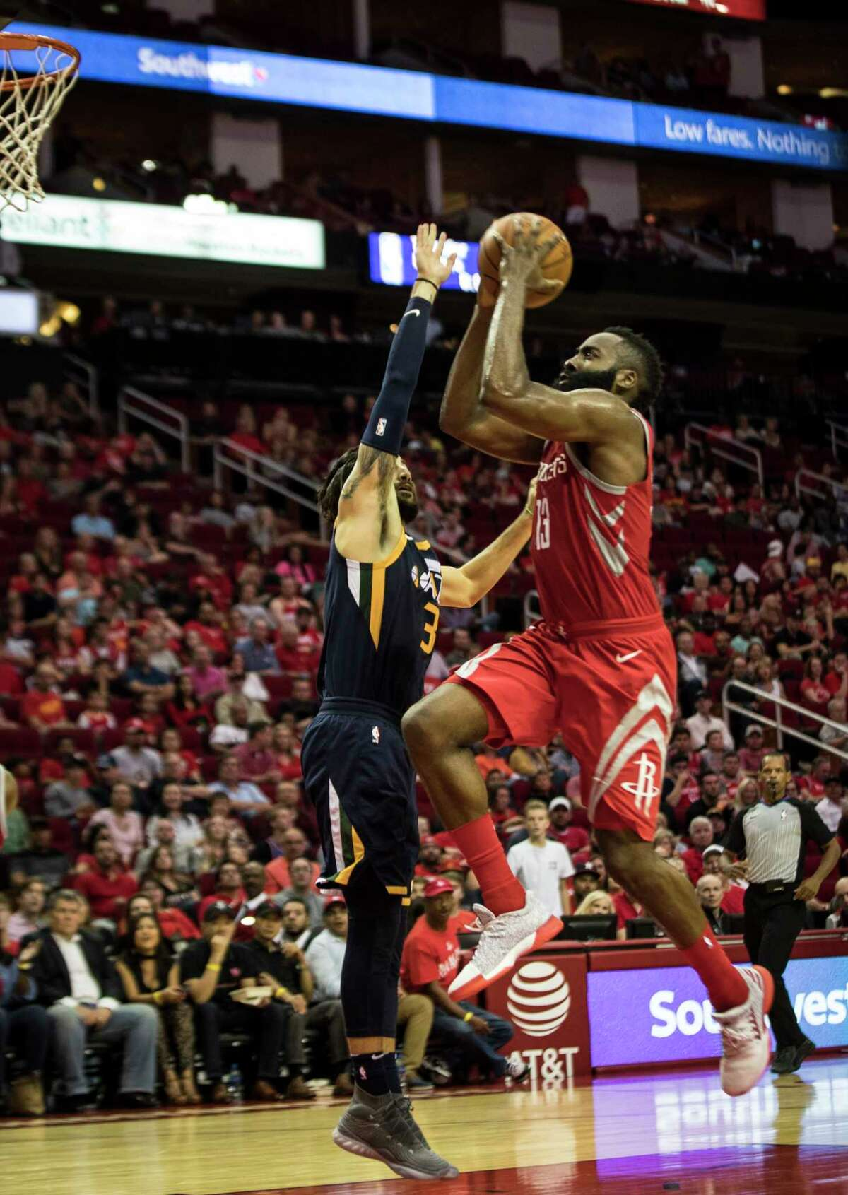 Guard James Harden, right, remains the driving force of the Rockets' offense, either as a scoring machine or as the top playmaker ... or usually both.