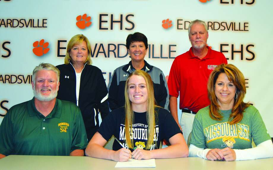 EHS senior Anna Burke, seated center, will play softball at Missouri S&T.