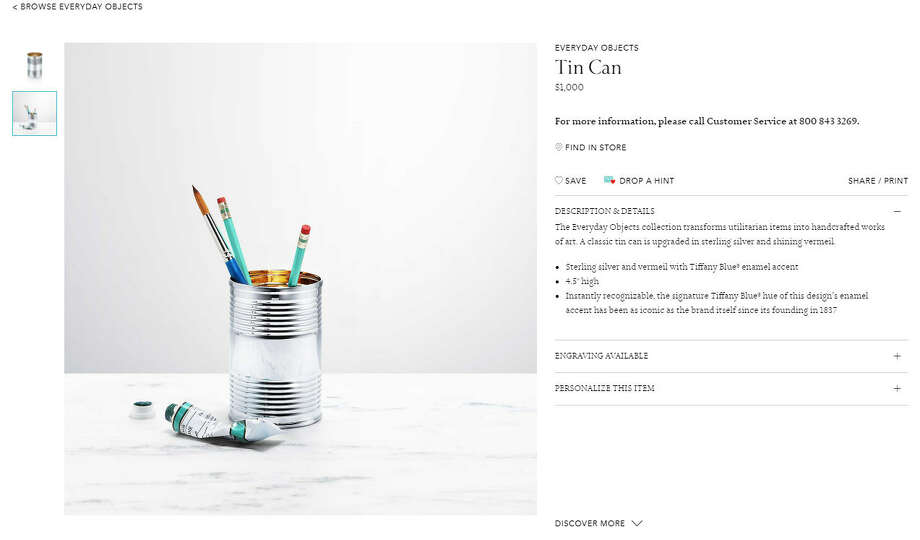 """Tiffany & Co.'s product line of """"everyday objects"""" is basically trolling all the regular people of Earth by making lavish versions of things we buy all the time.Photo: Tiffany & Co. Website Photo: Tiffany & Co. Website"""