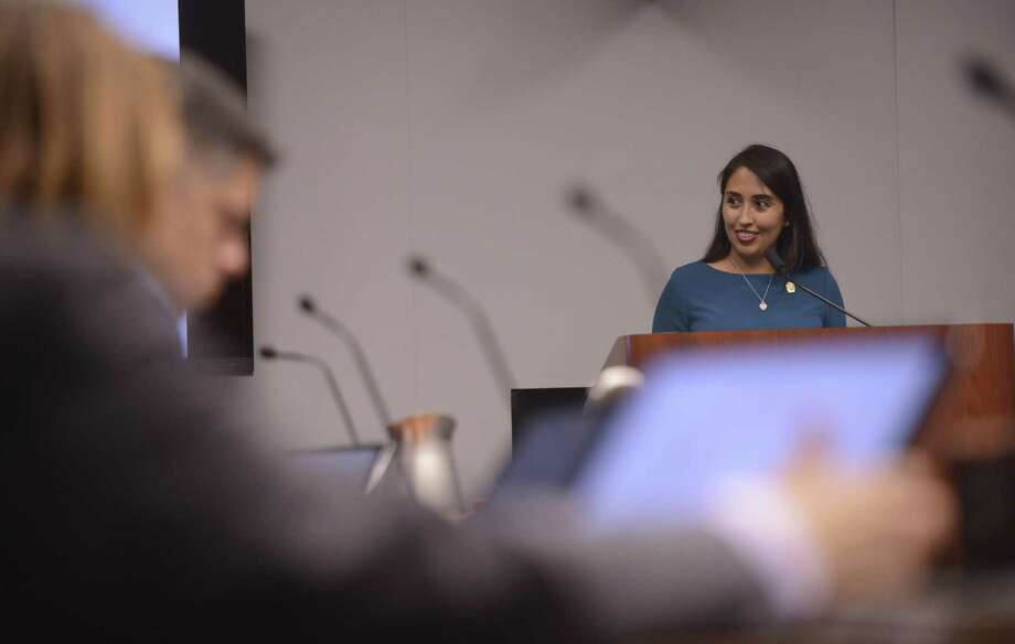 Dr. Adriana Rocha Garcia, Ethics Review Board Chair, speaks about the municipal finance code before City Council on Wednesday, Nov. 8, 2017. City Council was briefed Wednesday on potential changes to local ordinances that aim to bolster the trust in elections, including a requirement that candidate provide multiple documents proving their residency. The push comes after the 2017 election, which included at least two cases of questionable residency. Photo: Billy Calzada /San Antonio Express-News