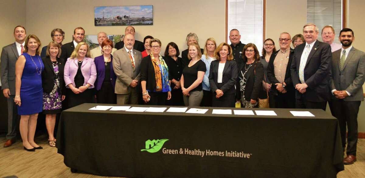 The mayors of Albany, Schenectady and Troy, along with county officials and nonprofit leaders, recently came together to create a regional Green & Healthy Homes Initiative partnership. (Submitted photo)
