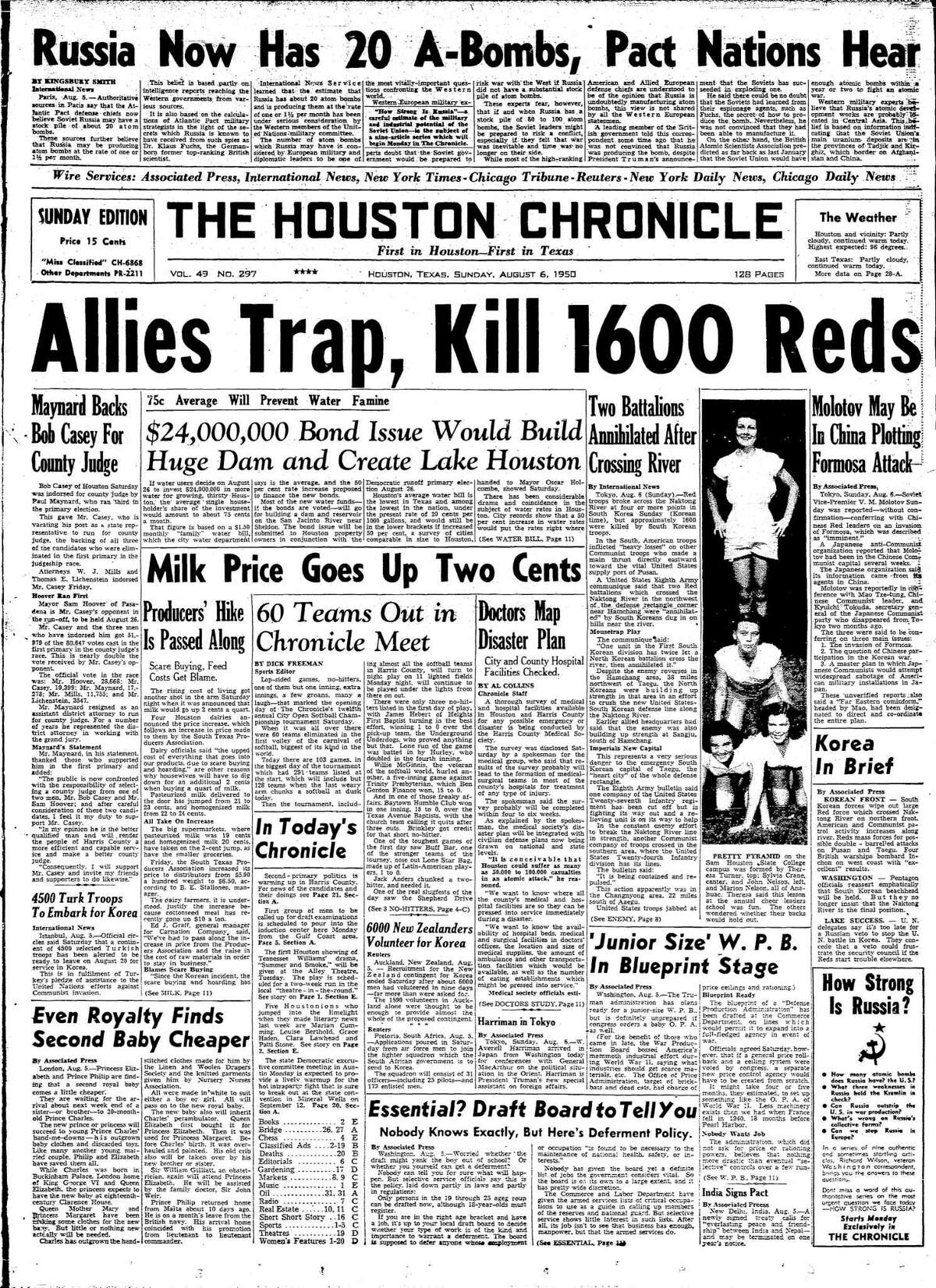Houston Chronicle front page - August 6, 1950 - section A, page 1. $24,000,000 Bond Issue Would Build Huge Dam and Create Lake Houston
