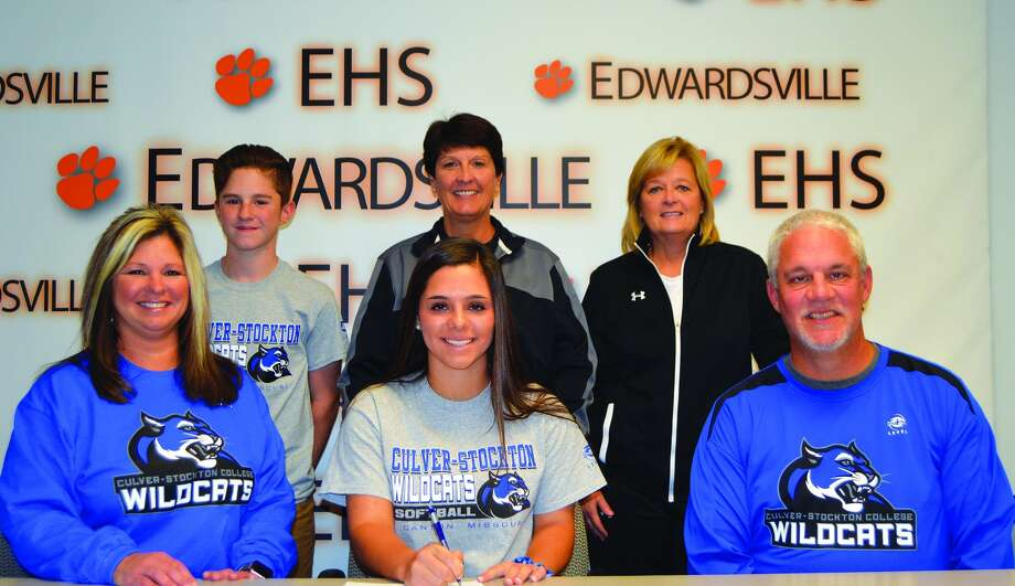 EHS senior Taryn Brown, seated center, will play softball for Culver-Stockton.