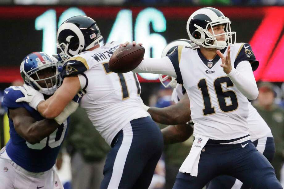 Quarterback Jared Goff, who struggled through a rough rookie season a year ago, is on top of his game for the Rams this season. Through eight games, Goff has passed for 2,030 yards and 13 touchdowns in getting the Rams off to a 6-2 start. Photo: Julio Cortez, STF / Copyright 2017 The Associated Press. All rights reserved.