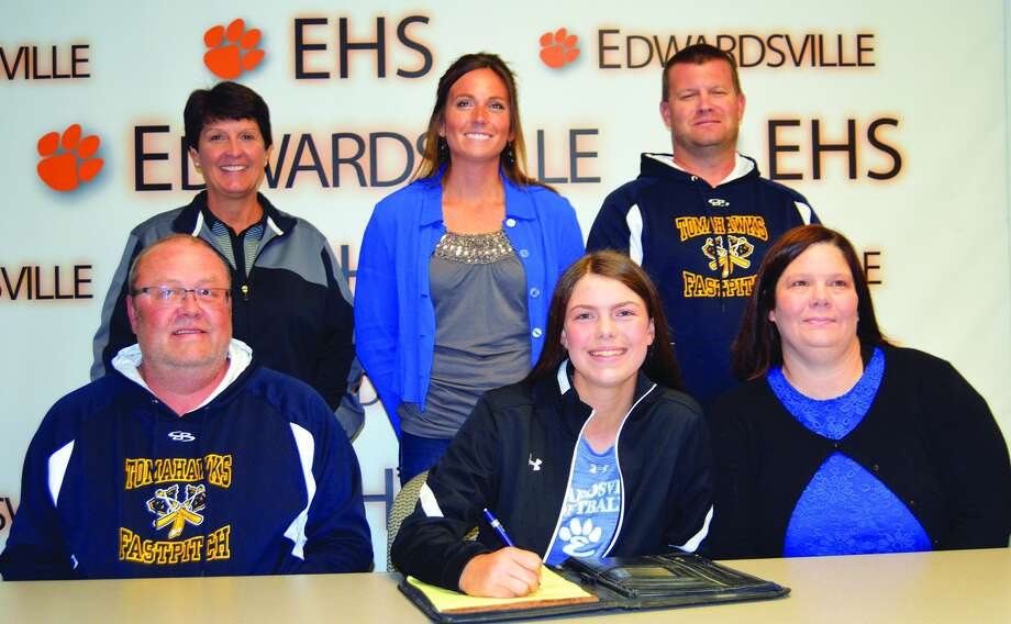 EHS senior Chloe Turner, seated center, will play softball for Culver-Stockton.