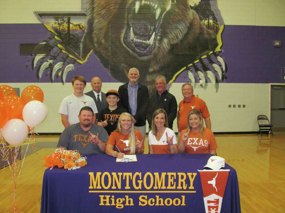 Montgomery High School Golfer, Hailee Cooper, signs her letter of intent to play the University of Texas. Hailee is pictured with her family Bettie Hairston, Vince Hamilton & Tonya, Ronnie, Zane & Zach Cooper. Montgomery ISD personnel pictured are MISD Athletic Director Clint Heard, Montgomery High School Principal Phil Eaton and Head Golf Coach, Kirk Thomason. Photo: Submitted Photo