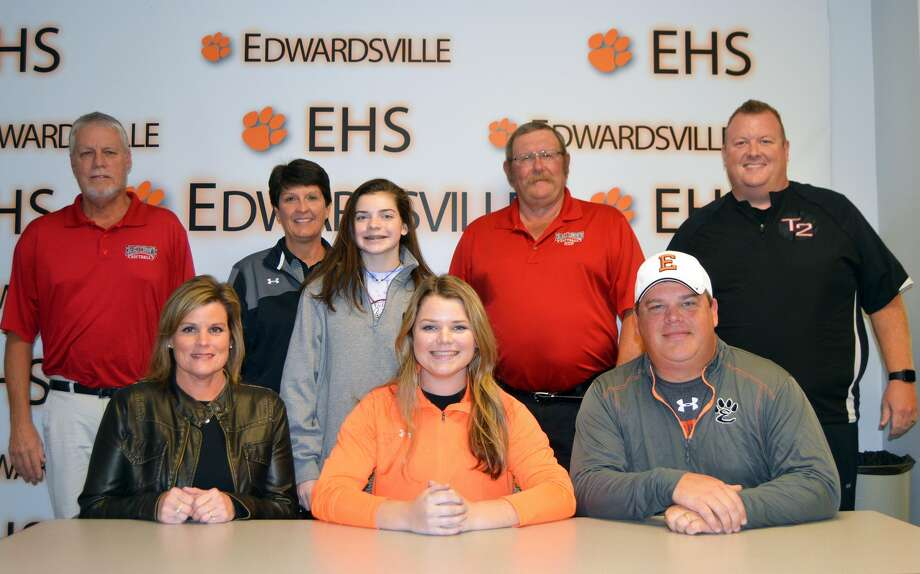 EHS senior Brooke Webber, seated center, will play softball for Lincoln Land.