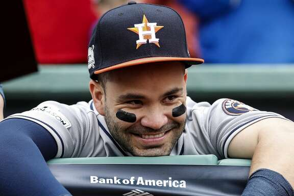 Houston Astros second baseman Jose Altuve stands in the dugout before Game 3 of the ALDS against the Boston Red Sox at Fenway Park on Sunday, Oct. 8, 2017, in Boston. ( Karen Warren / Houston Chronicle )