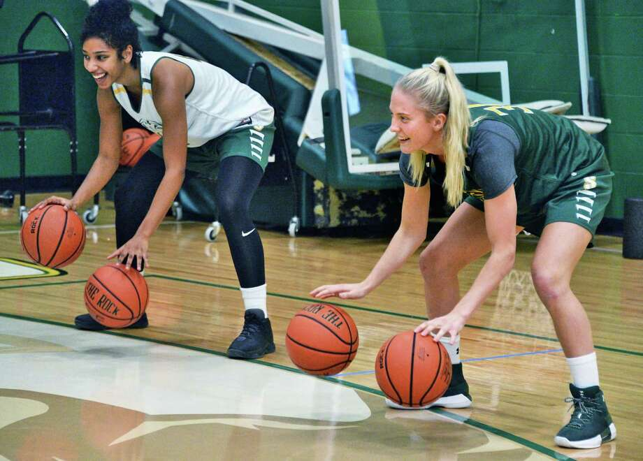 Siena women's basketball players Sabrina Piper, left, and Anna Lundquist during practice Friday Nov. 3, 2017 in Colonie, NY.  (John Carl D'Annibale / Times Union) Photo: John Carl D'Annibale / 20042030A