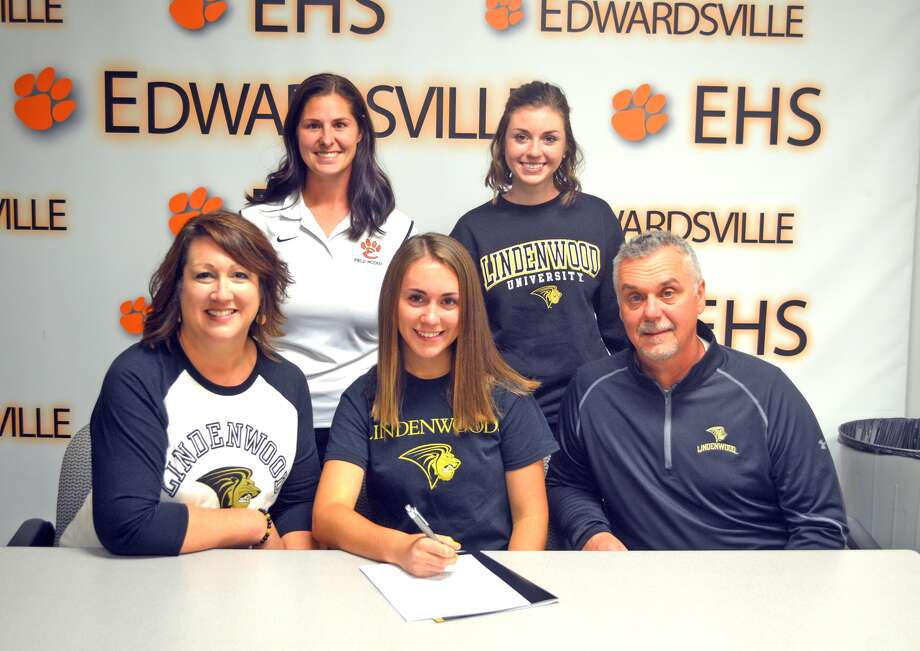 Edwardsville senior Sophia Swalley committted to play field hockey at Lindenwood University. In the front row, from left to right, are mother Ann Marie Swalley, Sophia Swalley and father William Swalley. In the back row, from left to right, are EHS coach Jaimee Phegley and sister Stella Swalley.